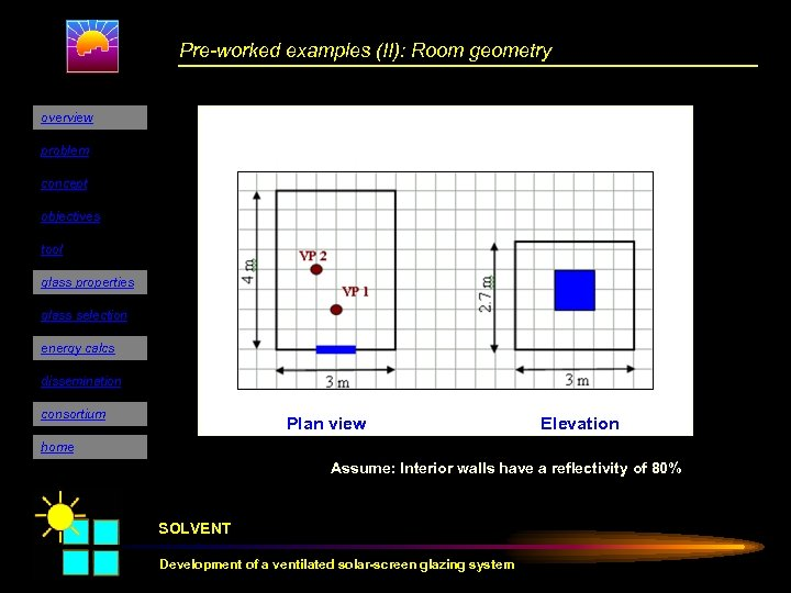Pre-worked examples (II): Room geometry overview problem concept objectives tool glass properties glass selection
