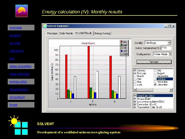 Energy calculation (IV): Monthly results overview problem concept objectives tool glass properties glass selection