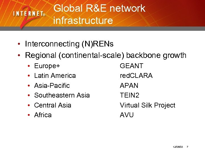 Global R&E network infrastructure • Interconnecting (N)RENs • Regional (continental-scale) backbone growth • •