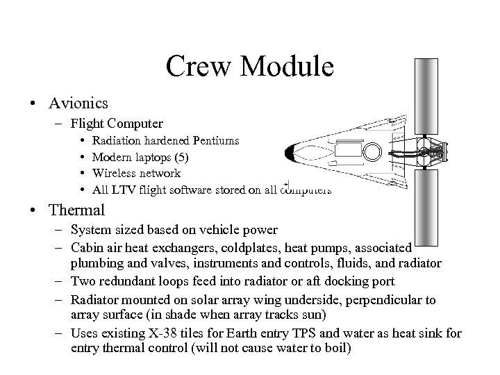 Crew Module • Avionics – Flight Computer • • Radiation hardened Pentiums Modern laptops