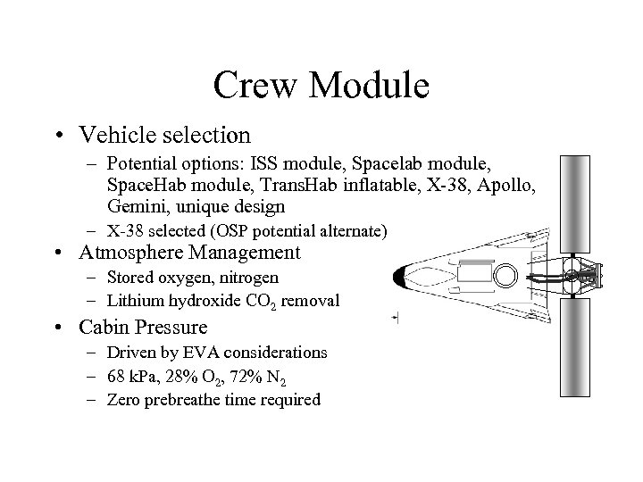 Crew Module • Vehicle selection – Potential options: ISS module, Spacelab module, Space. Hab