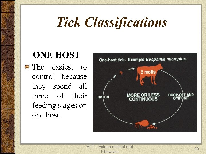 Tick Classifications ONE HOST The easiest to control because they spend all three of