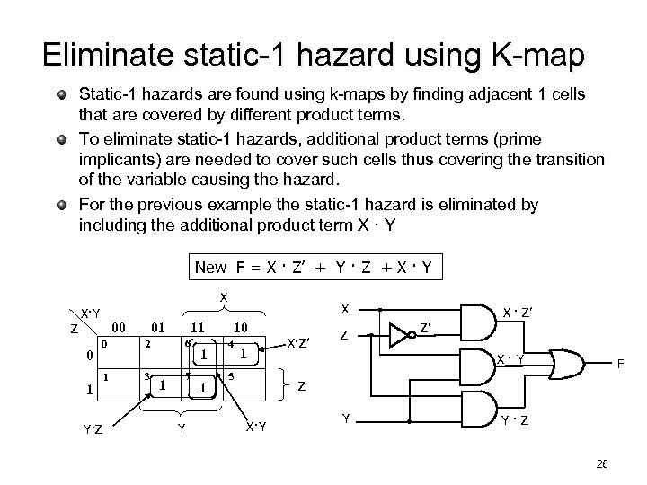 Eliminate static-1 hazard using K-map Static-1 hazards are found using k-maps by finding adjacent