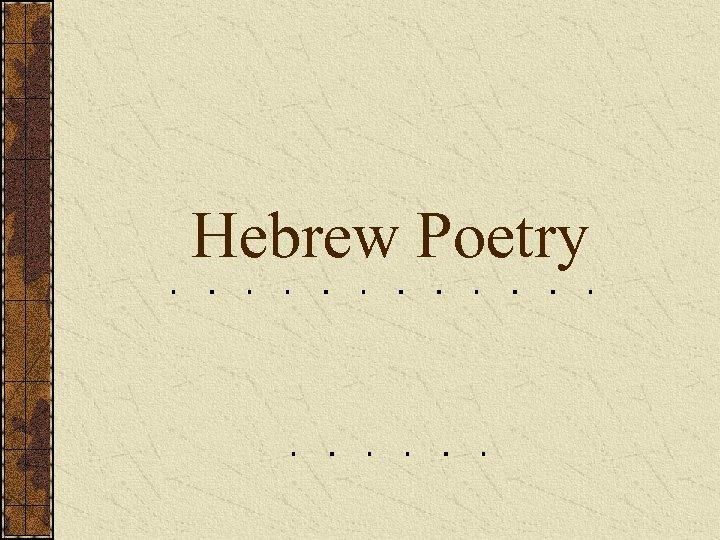 Hebrew Poetry