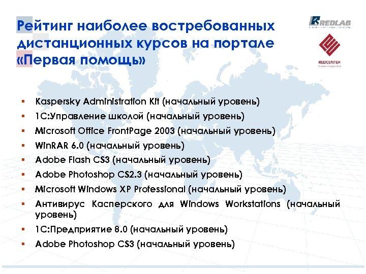 Рейтинг наиболее востребованных дистанционных курсов на портале «Первая помощь» § Kaspersky Administration Kit (начальный