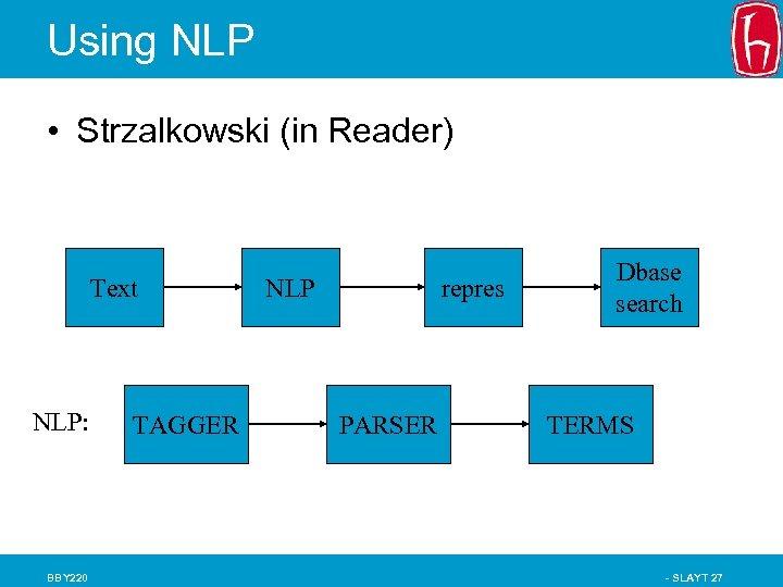 Using NLP • Strzalkowski (in Reader) Text NLP: BBY 220 TAGGER NLP repres PARSER