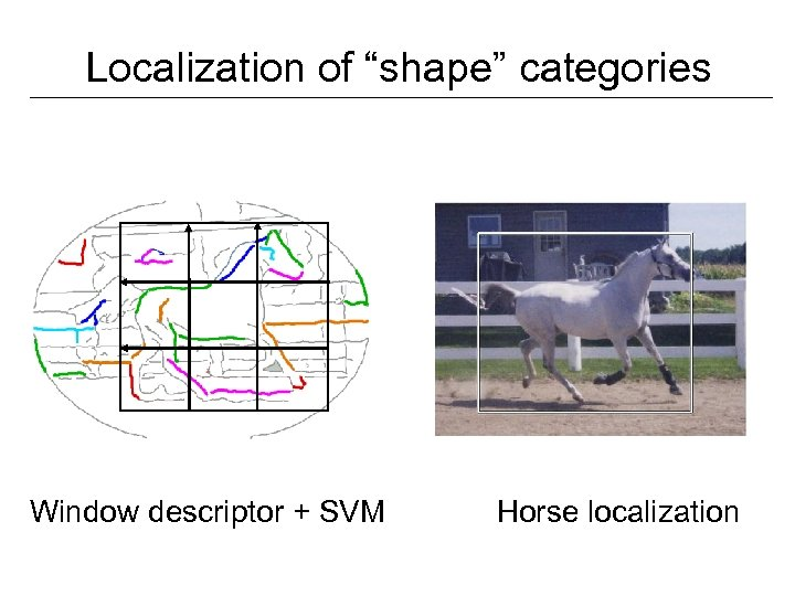 "Localization of ""shape"" categories Window descriptor + SVM Horse localization"