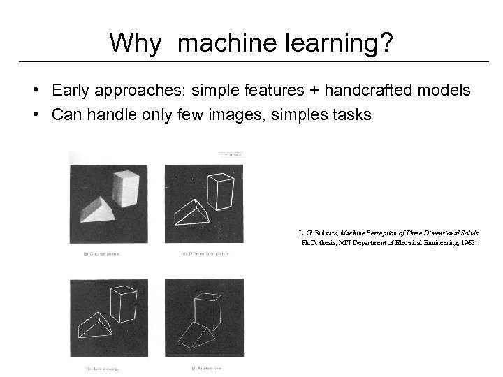 Why machine learning? • Early approaches: simple features + handcrafted models • Can handle