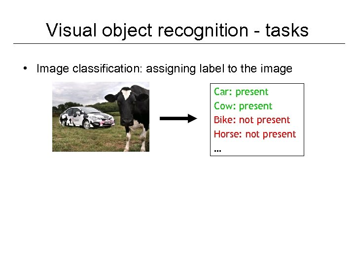 Visual object recognition - tasks • Image classification: assigning label to the image Car: