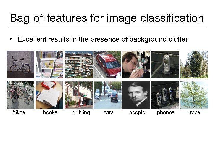 Bag-of-features for image classification • Excellent results in the presence of background clutter bikes