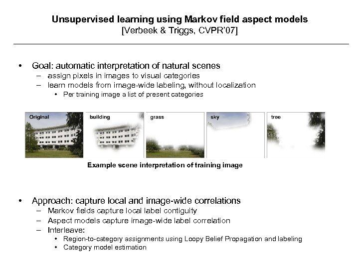 Unsupervised learning using Markov field aspect models [Verbeek & Triggs, CVPR' 07] • Goal: