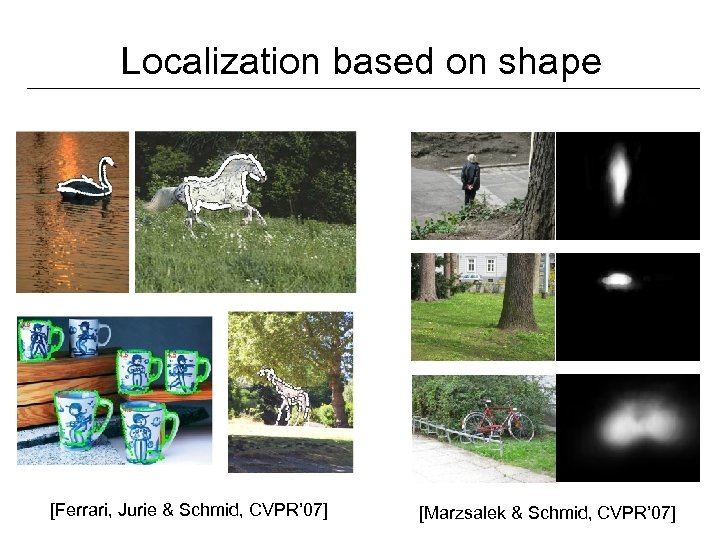Localization based on shape [Ferrari, Jurie & Schmid, CVPR' 07] [Marzsalek & Schmid, CVPR'
