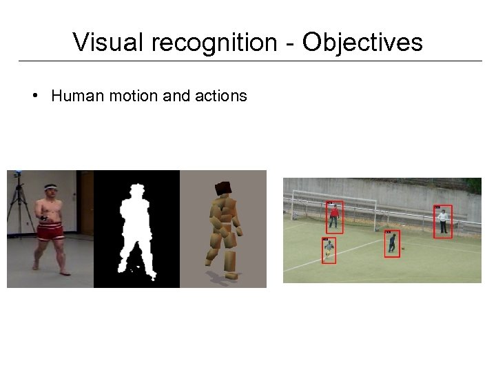 Visual recognition - Objectives • Human motion and actions