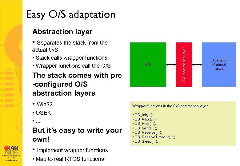 Easy O/S adaptation actual O/S • Stack calls wrapper functions • Wrapper functions call