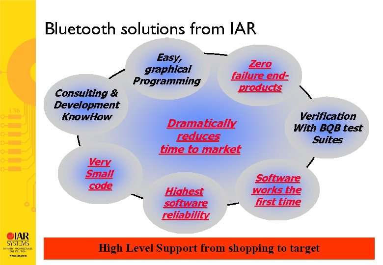 Bluetooth solutions from IAR Consulting & Development Know. How Very Small code Easy, graphical