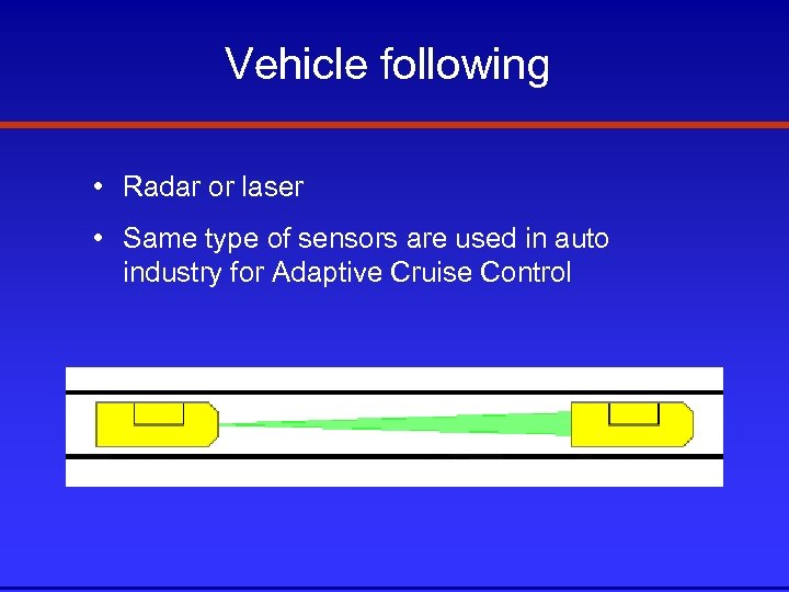 Vehicle following • Radar or laser • Same type of sensors are used in