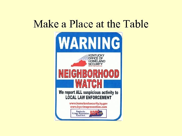 Make a Place at the Table