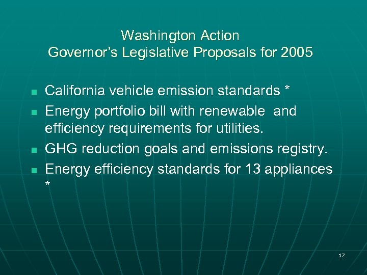 Washington Action Governor's Legislative Proposals for 2005 n n California vehicle emission standards *