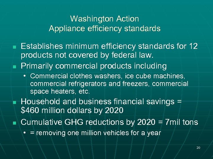 Washington Action Appliance efficiency standards n n Establishes minimum efficiency standards for 12 products