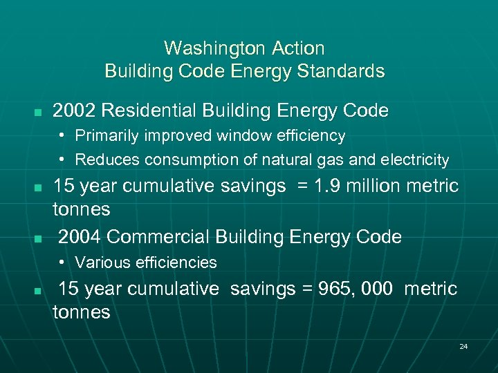 Washington Action Building Code Energy Standards n 2002 Residential Building Energy Code • Primarily