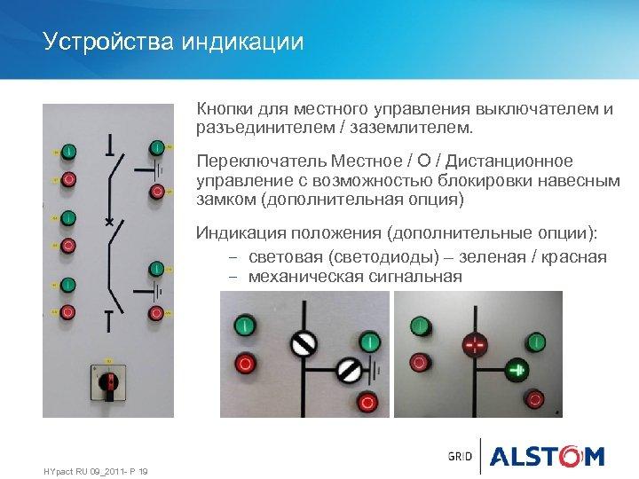 Устройства индикации Кнопки для местного управления выключателем и разъединителем / заземлителем. Переключатель Местное /