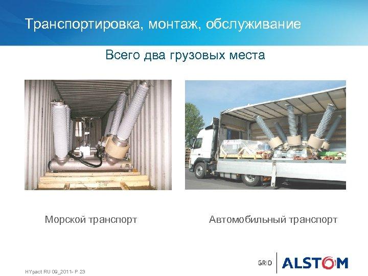 Транспортировка, монтаж, обслуживание Всего два грузовых места Морской транспорт HYpact RU 09_2011 - P