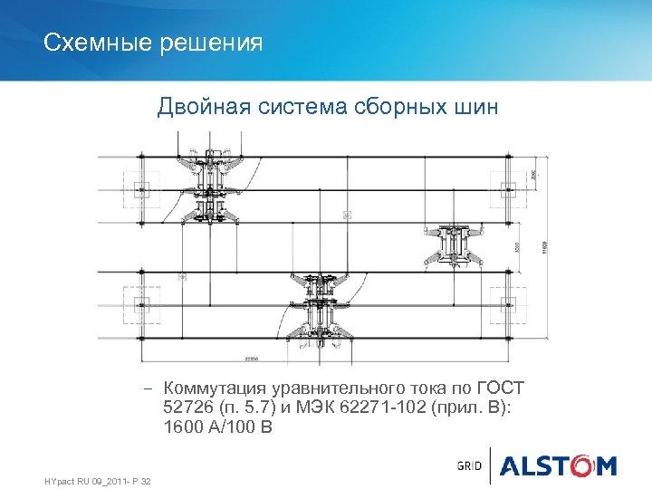 Схемные решения Двойная система сборных шин − Коммутация уравнительного тока по ГОСТ 52726 (п.