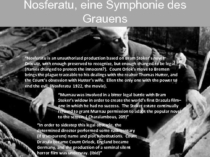 """Nosferatu, eine Symphonie des Grauens """"Nosferatu is an unauthorized production based on Bram Stoker's"""