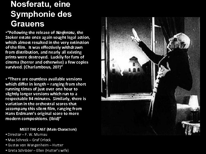 """Nosferatu, eine Symphonie des Grauens • """"Following the release of Nosferatu, the Stoker estate"""