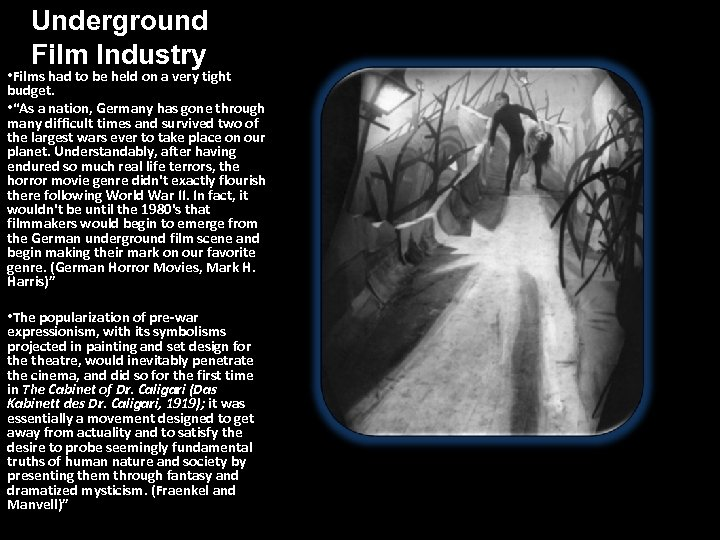 Underground Film Industry • Films had to be held on a very tight budget.