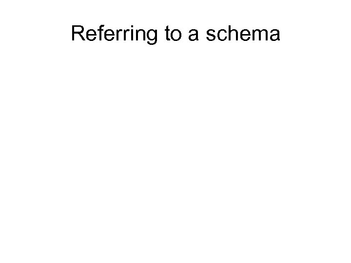 Referring to a schema