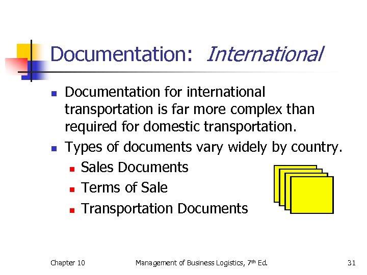 Documentation: International n n Documentation for international transportation is far more complex than required
