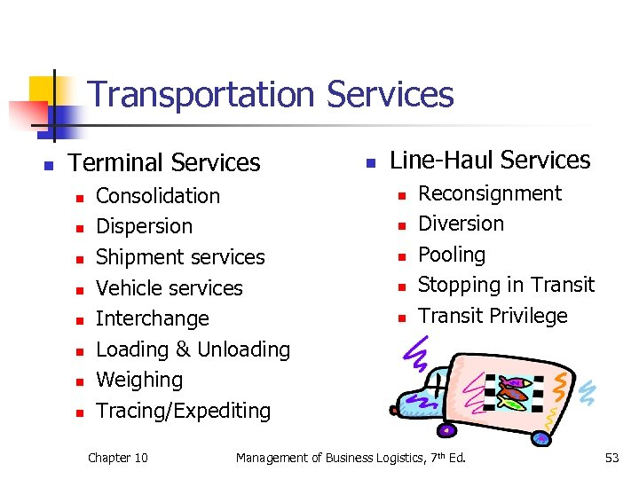 Transportation Services n Terminal Services n n n n Consolidation Dispersion Shipment services Vehicle
