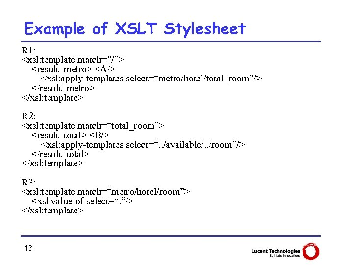 """Example of XSLT Stylesheet R 1: <xsl: template match=""""/""""> <result_metro> <A/> <xsl: apply-templates select=""""metro/hotel/total_room""""/>"""