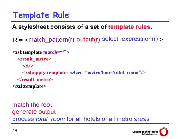 Template Rule A stylesheet consists of a set of template rules. R = <