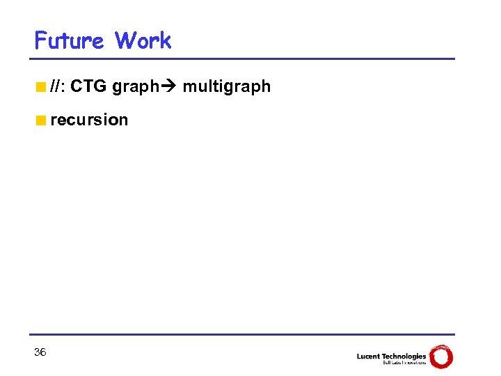 Future Work <//: CTG graph multigraph <recursion 36