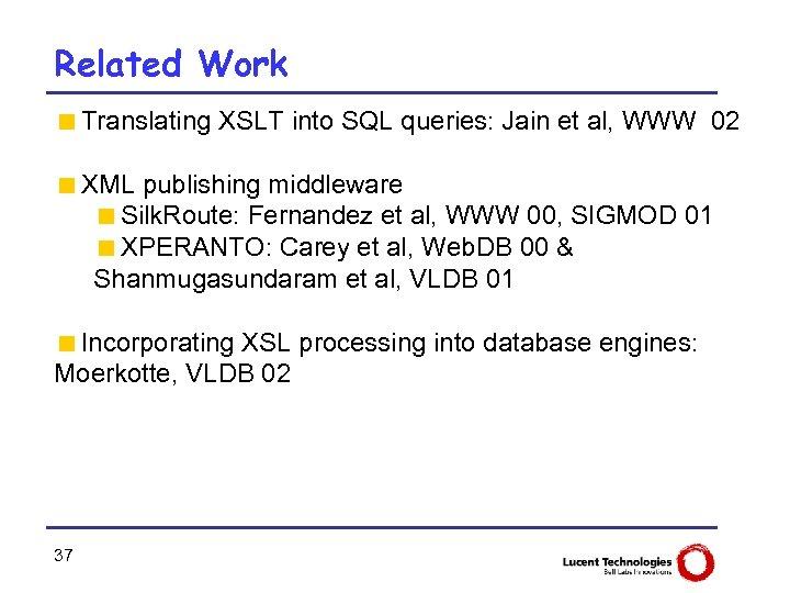 Related Work <Translating XSLT into SQL queries: Jain et al, WWW 02 <XML publishing