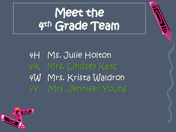 Meet the 4 th Grade Team 4 H 4 K 4 W 4 Y