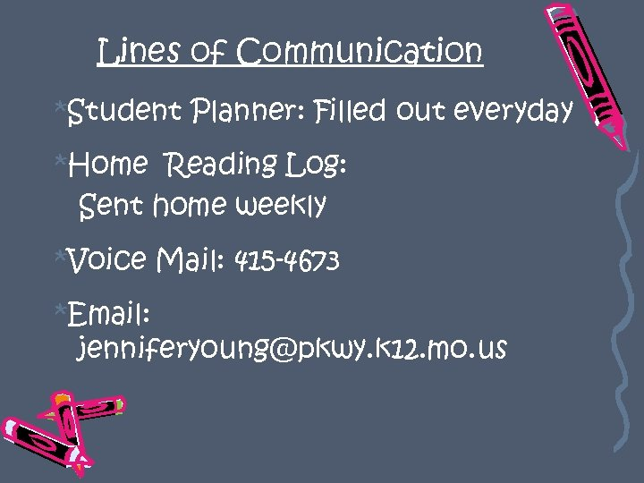 Lines of Communication *Student Planner: Filled out everyday *Home Reading Log: Sent home weekly
