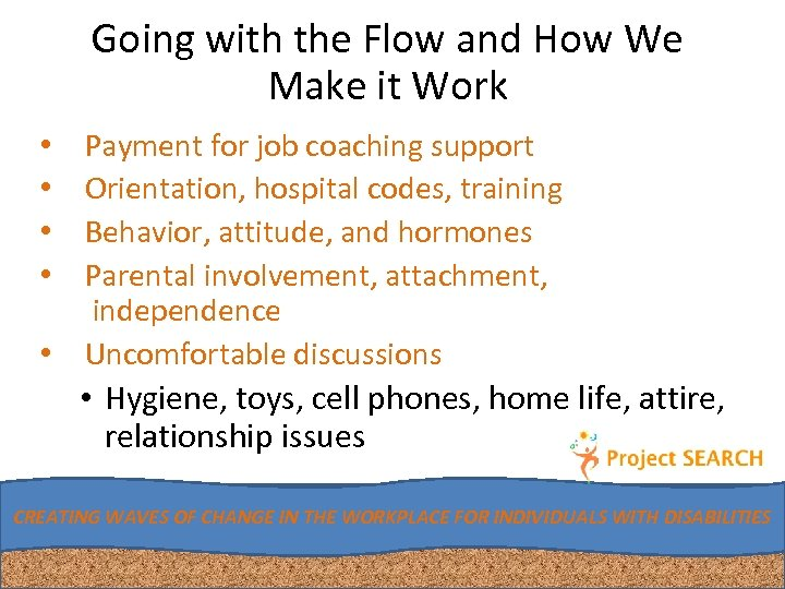 Going with the Flow and How We Make it Work Payment for job coaching