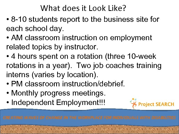 What does it Look Like? • 8 -10 students report to the business site