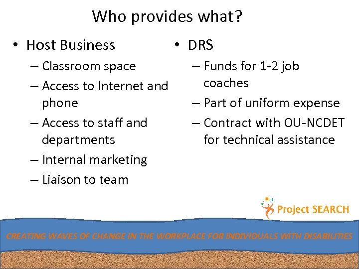 Who provides what? • Host Business – Classroom space – Access to Internet and