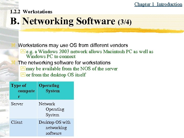 Chapter 1 Introduction 1. 2. 2 Workstations B. Networking Software (3/4) z Workstations may