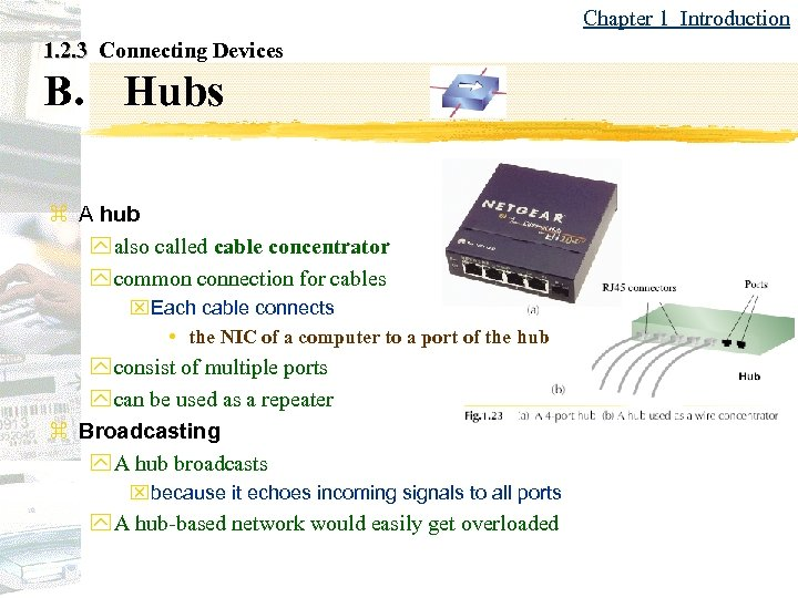 Chapter 1 Introduction 1. 2. 3 Connecting Devices B. Hubs z A hub y