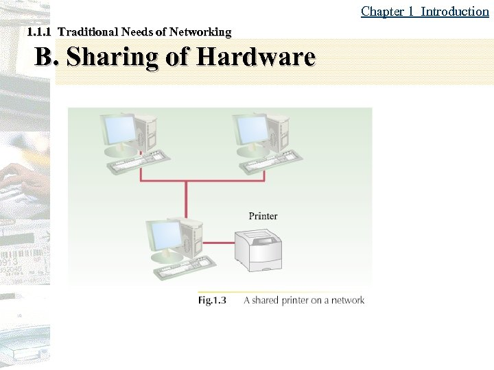 Chapter 1 Introduction 1. 1. 1 Traditional Needs of Networking B. Sharing of Hardware