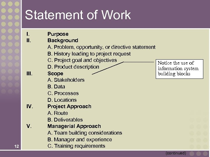 Statement of Work I. II. IV. 12 Purpose Background A. Problem, opportunity, or directive