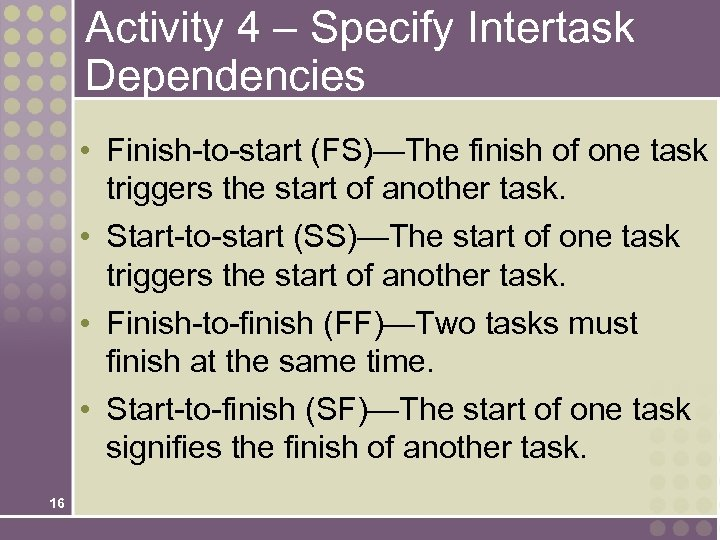 Activity 4 – Specify Intertask Dependencies • Finish-to-start (FS)—The finish of one task triggers
