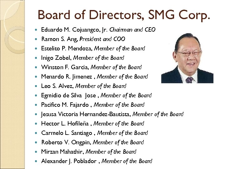 Board of Directors, SMG Corp. Eduardo M. Cojuangco, Jr. Chairman and CEO Ramon S.