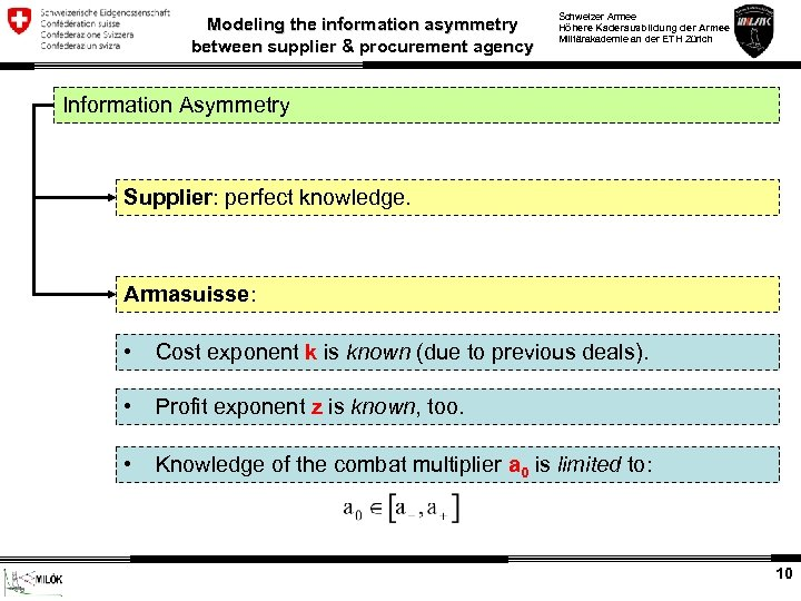Modeling the information asymmetry between supplier & procurement agency Schweizer Armee Höhere Kaderausbildung der