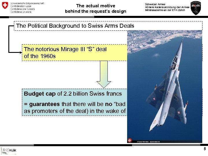 The actual motive behind the request's design Schweizer Armee Höhere Kaderausbildung der Armee Militärakademie